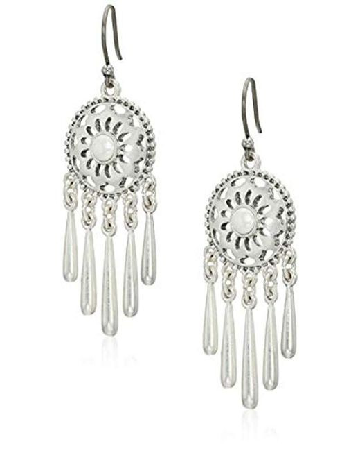 Lucky Brand - Metallic Openwork Pearl Fringe Drop Earrings - Lyst
