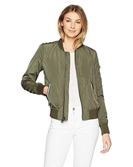 Levi's - Green Poly Bomber Jacket With Contrast Zipper Pockets, - Lyst