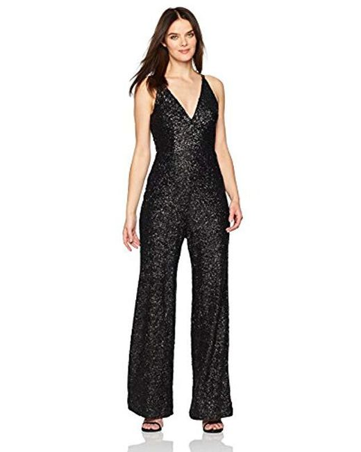 Dress the Population - Black Charlie Plunging Sequin Sleeveless Jumpsuit - Lyst