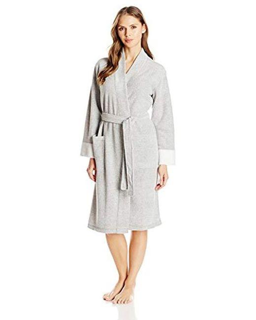 N Natori Gray Nirvana Brushed Terry Bathrobe Robe For