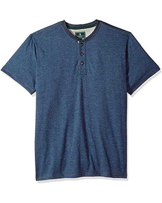 G.H.BASS - Blue Short Sleeve Carbonized Jersey Henley for Men - Lyst