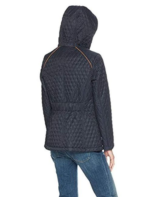 e4f8180e ... Tommy Hilfiger - Blue Hooded Diamond Quilted Jacket - Lyst