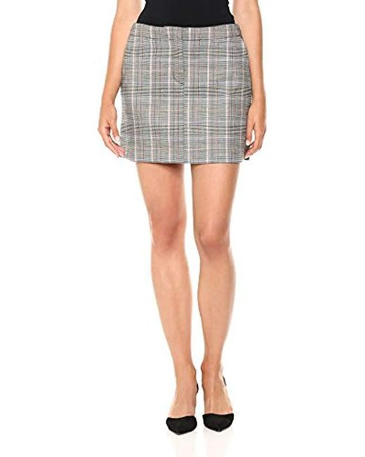 Theory - Gray Seamed Mini Skirt - Lyst