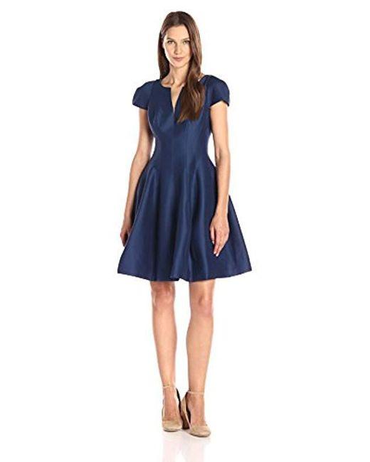 Halston Heritage - Blue Short Sleeve Notch Neck Dress With Skirt - Lyst