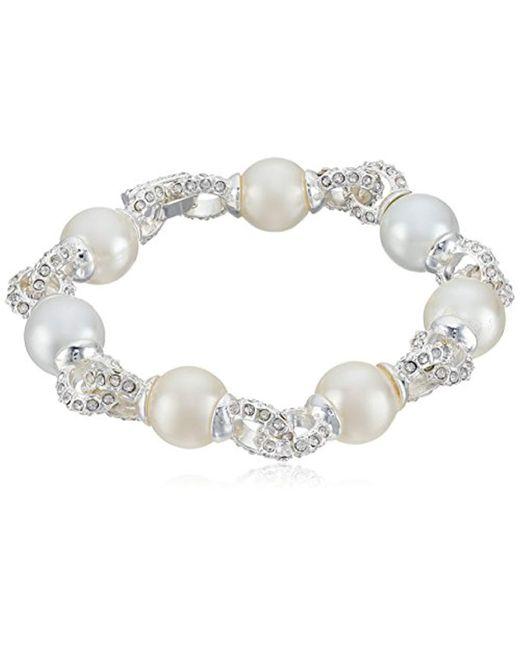 "Anne Klein - Metallic Silver-tone Pearl And Crystal Flex Link Bracelet, 8"" - Lyst"