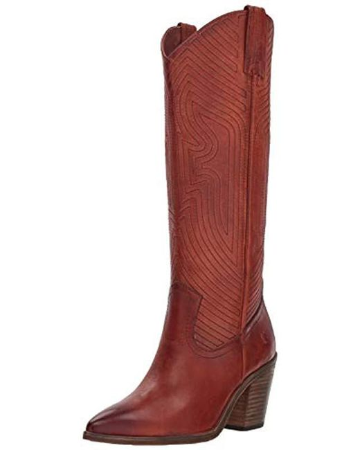 Frye - Red Faye Stitch Pull On Western Boot - Lyst