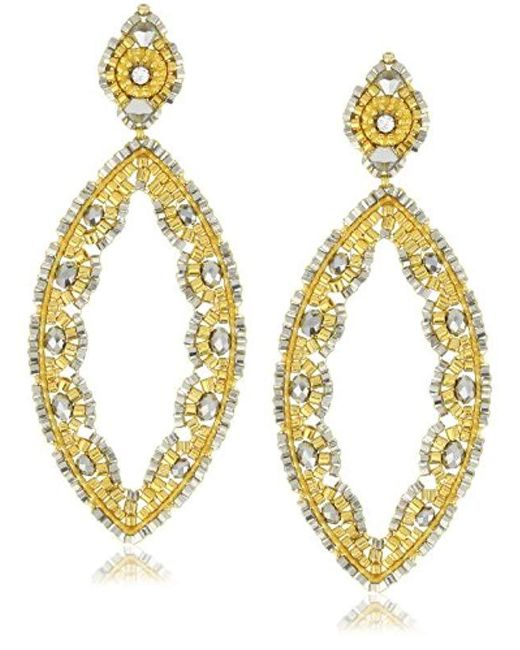 Miguel Ases - Metallic Pyrite And Swarovski Gold Beaded Cut-out Marquis Earrings - Lyst