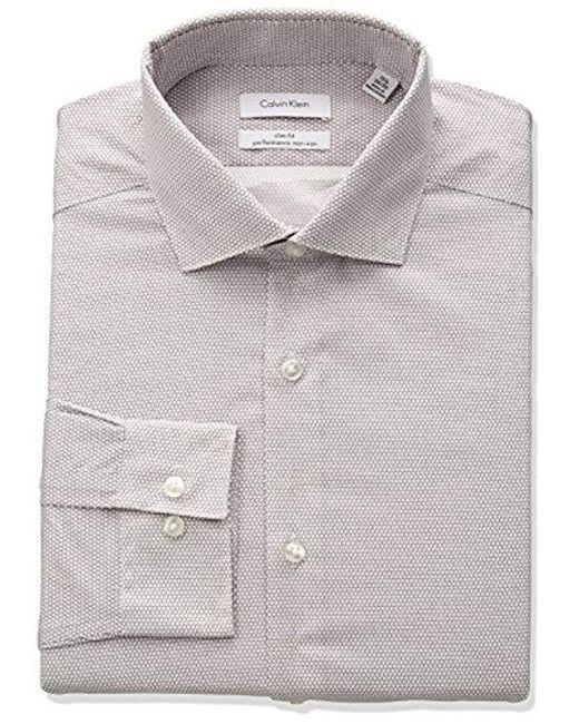 Calvin Klein - White Non Iron Stretch Slim Fit Square Print Dress Shirt for Men - Lyst