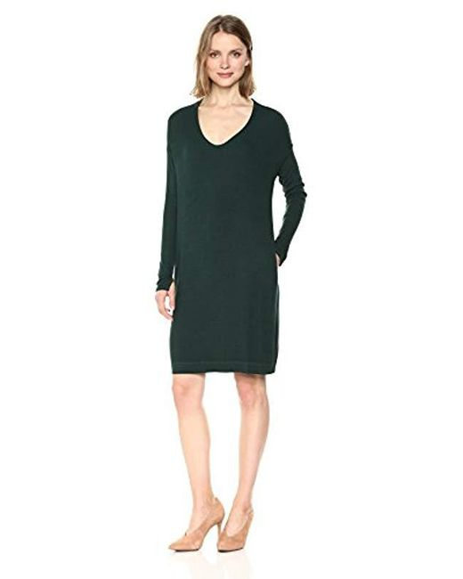 Michael Stars - Green 2x1 Rib Long Sleeve Soft V-neck Dress Pockets - Lyst