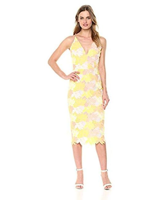 Dress the Population - Yellow Aurora Lace Plunging Spaghetti Strap Midi Sheath - Lyst