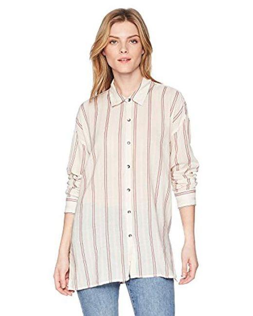 Splendid - White Sailboat Stripe Boyfriend Shirt, - Lyst