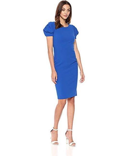 1b55f2c80416 Calvin Klein - Blue Solid Puff-sleeve Sheath Dress - Lyst ...