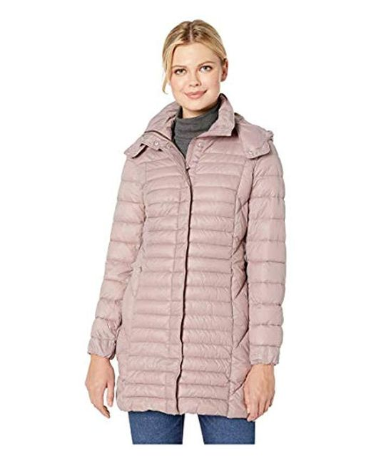 Kenneth Cole - Pink Hooded Lightweight Nylon Packable - Lyst