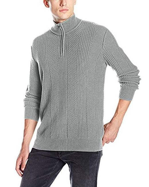 Calvin Klein - Gray Mixed Texture Quarter Zip Sweater for Men - Lyst