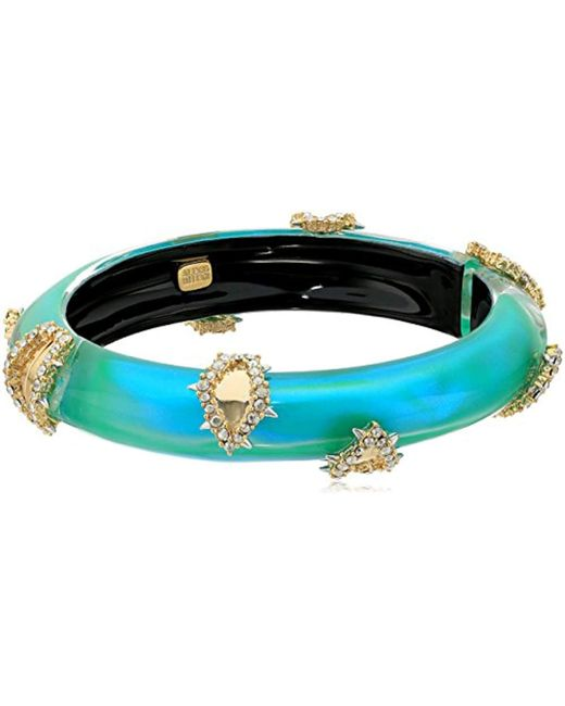 Alexis Bittar - Multicolor Crystal Studded Liquid Silk Hinge Bangle Bracelet - Lyst