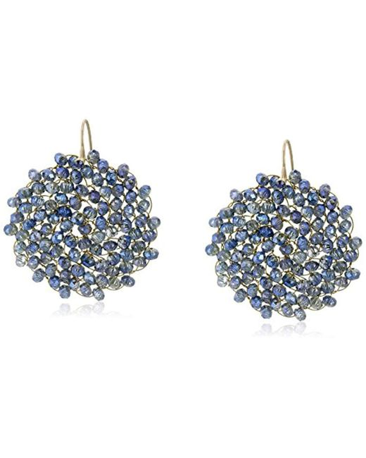 """Kenneth Cole - Blue """"woven"""" Woven Faceted Bead Round Drop Earrings - Lyst"""