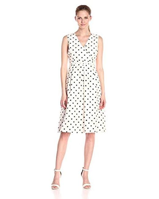 Kasper - White V-neck Polka Shantung Dress - Lyst