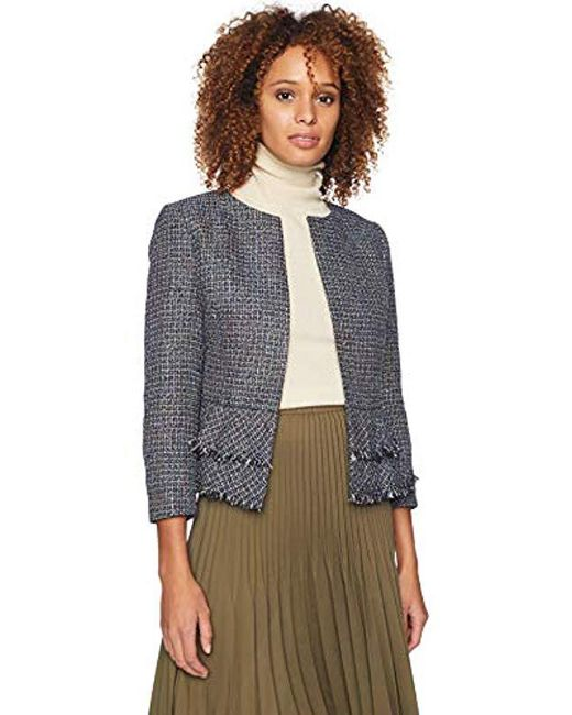 Nine West - Multicolor Jewel Neck Tweed Kiss Frnt Jkt With Bottom Ruffle Detail - Lyst