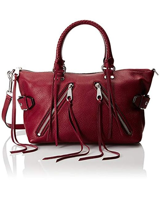 Rebecca Minkoff - Red Moto Satchel Top Handle Bag - Lyst