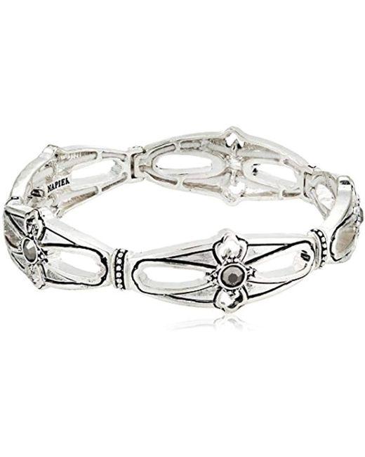 Napier - Metallic Silver-tone With Antique Stretch Bracelet - Lyst