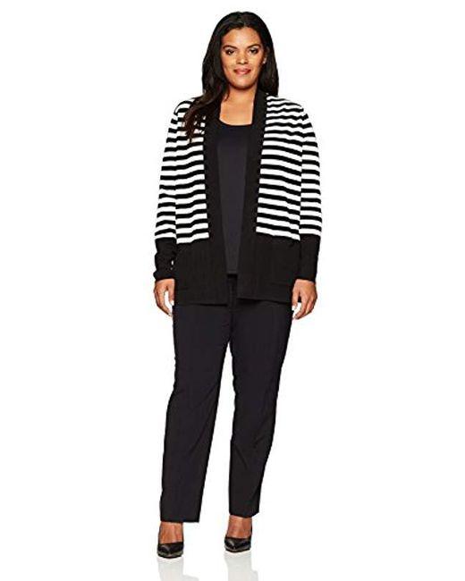 3de8bf803d5 Lyst - Anne Klein Plus Size Striped Malibu Cardigan in Black - Save 25%