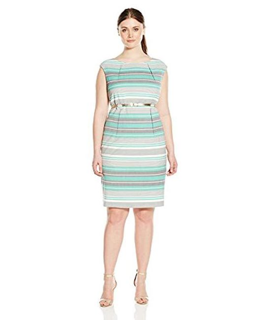 Lyst Calvin Klein Plus Size Belted Striped Sheath Dress Save