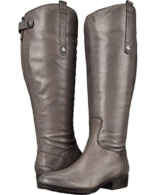 e393a9d9bc5412 Sam Edelman - Gray Penny 2 Wide Calf Leather Riding Boot - Lyst ...
