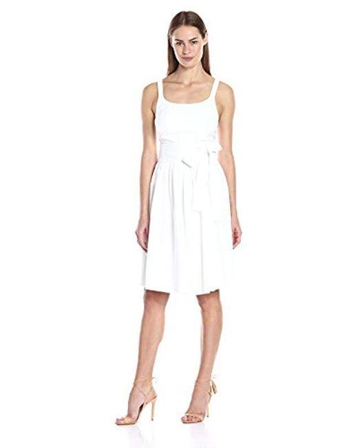 Calvin Klein - White Tank Dress With Bow Belt - Lyst