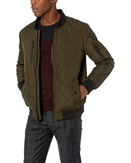 Calvin Klein - Green Quilted Bomber With Patches for Men - Lyst