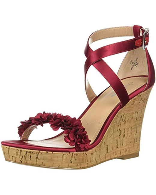 Charles David - Red Lauryn Wedge Sandal - Lyst