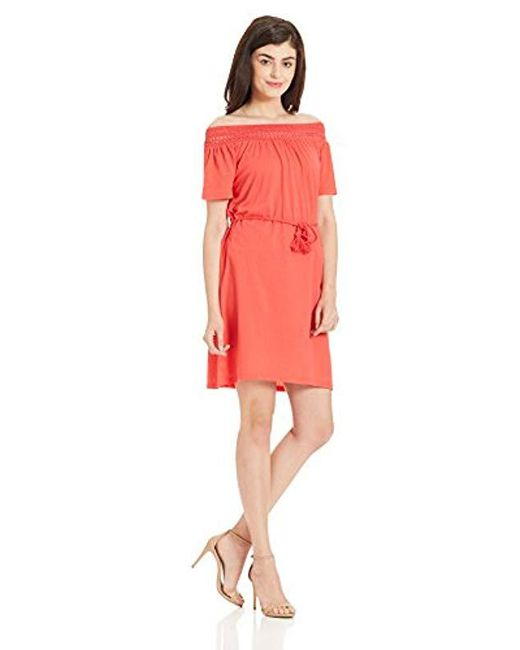 Vero Moda - Red Laura Off Shoulder Dress - Lyst
