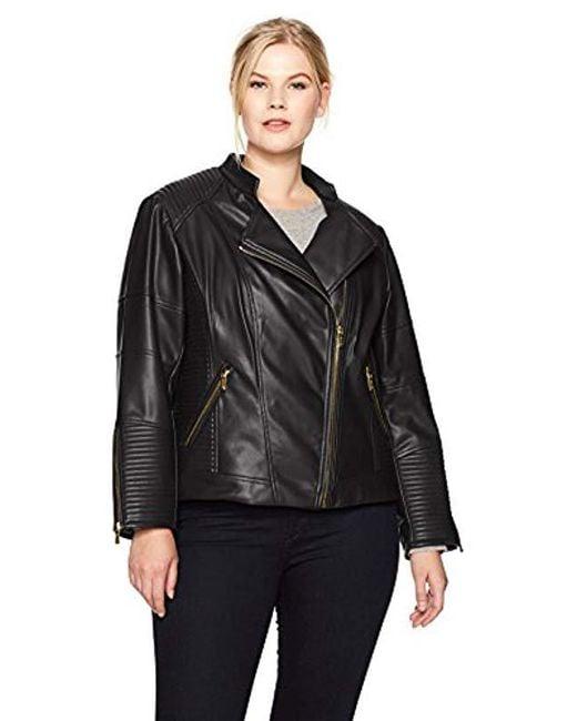 Calvin Klein - Black Plus Size Pu Jacket With Seaming - Lyst