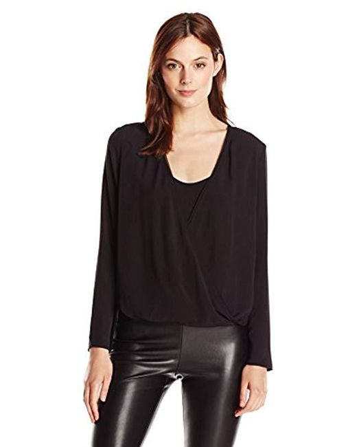French Connection - Black Polly Plains Ls Vnk Wrapover Blouse - Lyst