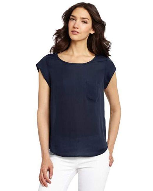 Joie - Blue Rancher Silk Short Sleeve Pocket Top - Lyst