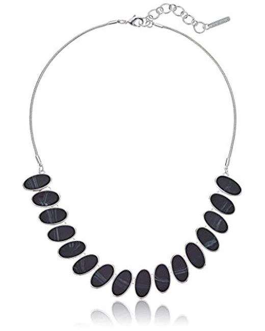 """Nine West - Metallic Silver-tone And Jet 16"""" Frontal Necklace, Size 0 - Lyst"""