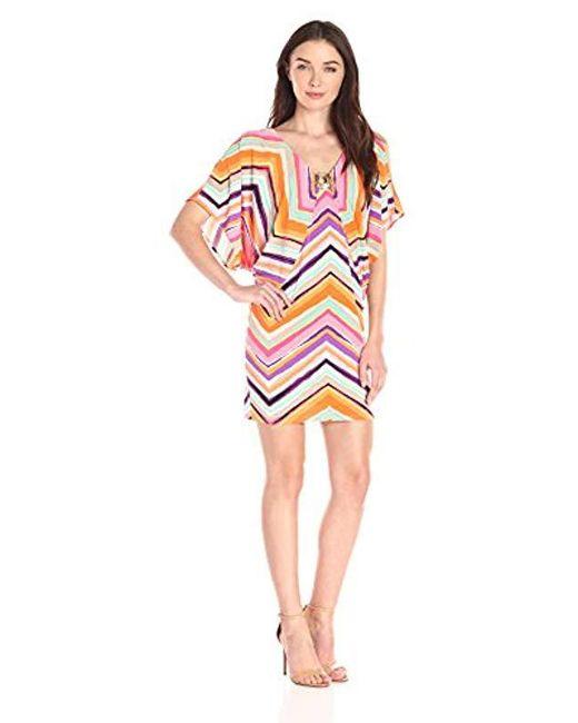 Trina Turk - Multicolor Bellemore Piazza Zigzag Matte Jersey Cold-shoulder Dress - Lyst
