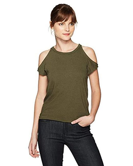 Pam & Gela - Green Cold Shoulder Tee - Lyst