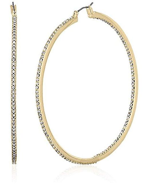 """Kenneth Cole - Metallic """"shiny Gold Items"""" Gold And Crystal Large Hoop Earrings - Lyst"""