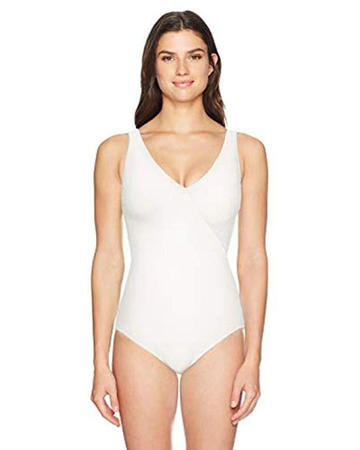 5931ab00aaa Gottex - White Standard Extra Coverage Textured Surplice One Piece Swimsuit  - Lyst ...