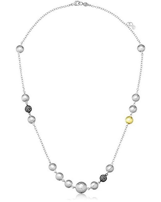 "Gurhan - Metallic ""lentil Ice"" Sterling Silver And Diamond Pave Station Necklace - Lyst"