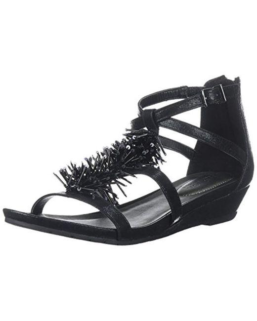 Kenneth Cole Reaction - Black Great Fringe T-strap Wedge Sandal - Lyst