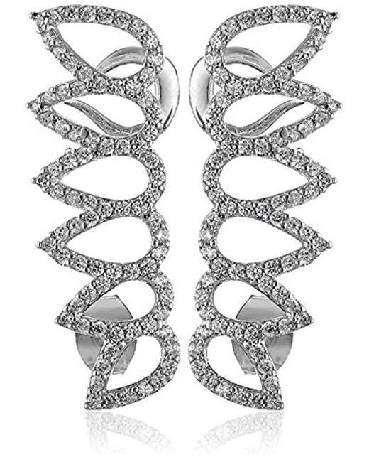 Noir Jewelry - Metallic Pave Cubic Zirconia Leaf Ear Cuffs - Lyst