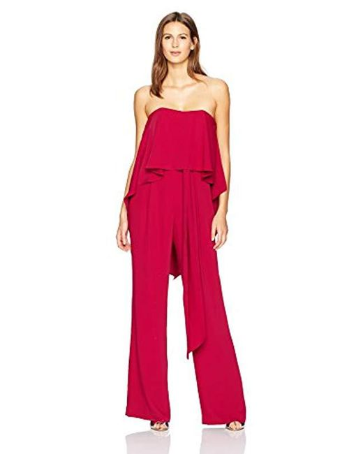 3e5cb5ba9ee7 Halston Heritage - Red Strapless Jumpsuit With Flowy Back - Lyst ...
