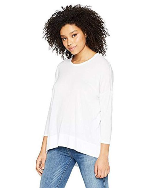 Three Dots - White Vintage Jersey 3/4 Slv Short Loose Top, - Lyst
