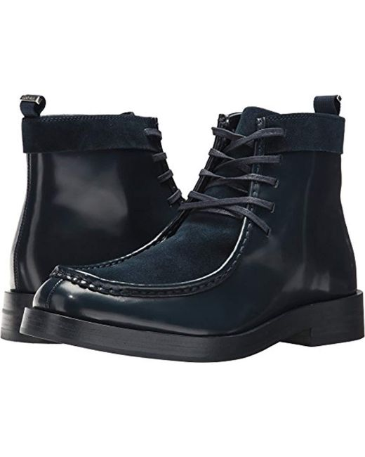 Calvin Klein - Blue Rafi Box Leather/calf Suede Boot for Men - Lyst