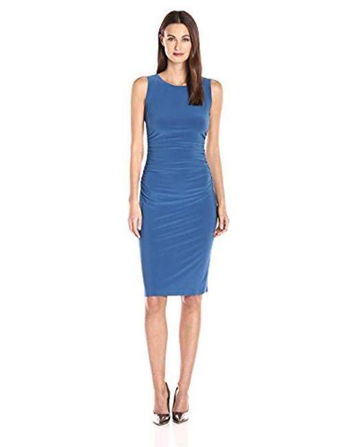 7ae63ab651669a Norma Kamali - Blue Sleeveless Shirred Waist Dress In Marine - Lyst ...