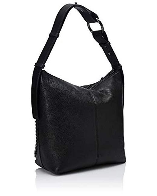 e1bb9353110a ... Calvin Klein - Black Liana Pebble Leather Floral Embroidery Belted Top  Zip Slouchy Hobo - Lyst ...