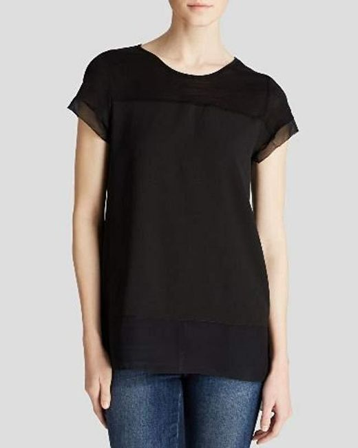 French Connection - Black Polly Plains Raw Edge Tee - Lyst