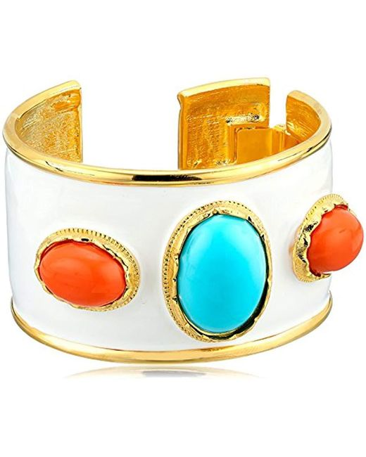 Kenneth Jay Lane - White Enamel, Turquoise Color And Coral Cuff Bracelet - Lyst