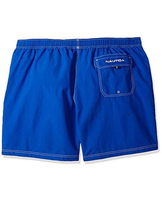 28b492b9d2 ... Nautica - Blue Big And Tall Solid Quick Dry Classic Logo Swim Trunk for  Men -